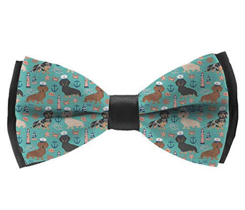 (Pre-Tied Classic Bow Ties, Dachshund Sailors Nautical Dog Pattern Neck Band Ties Casual And Formal Tuxedo Butterfly Bow Tie For Adults & Children - Suit Accessories, Fun)