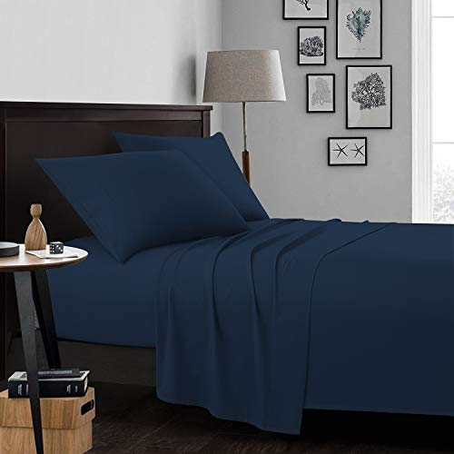 Cosy Hometex Microfiber Queen Sheet Set Soft Double Brushed Deep Pocket 4 Piece Bed Sheet Set-Navy Blue,Queen