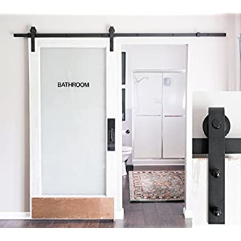 8foot heavy duty sliding barn door hardware kit black includes easy