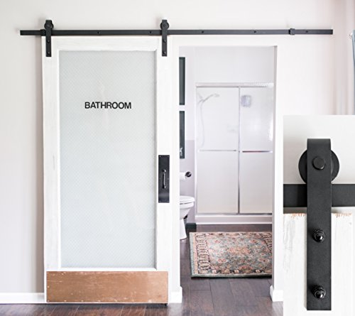 INDUSTRIAL BY DESIGN 8ft Sliding Barn Door Hardware Kit - Heavy Duty 1-Piece Rail with Upgraded Nylon Bearings for Quiet and Smooth Sliding Door - Includes Install Video (Matte Black, J Shape Hanger)