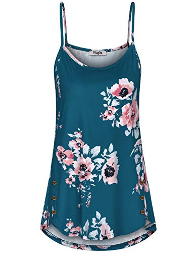 (Hibelle Womens Tank Tops, Summer Floral Printed Round Neck Spaghetti Strap Button Trim Assymetrical Cami Beautiful Loose Fitting Slip Cotton Camisole Tunic Daily Wear Dark Cyan 2XL)