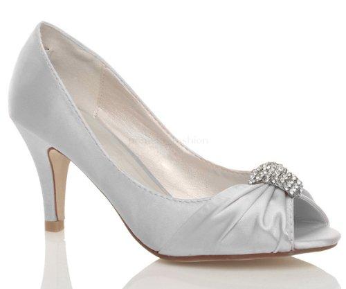 Damen Hochzeit Abend Hoher Absatz Kleiner Trichter Peep Toe Schuhe Größe 3 36 Ajvani BjRy0dEp