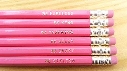 Gentle Reminder Pencils. Set of 12 - Colors available: Pink, Pastel Green, White or Natural - Cute Pencils. Gifts for Her. Back to school supplies. USA Made -.Inspirational. (Pink)