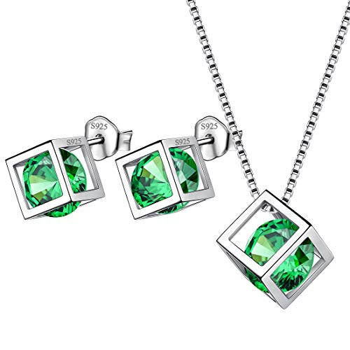 Aurora Tears Birthstone May Jewelry Sets Women 925 Sterling Silver Crystal Birth Stone Necklace Earrings Sets Girls Birth Stone Gift DS0028G