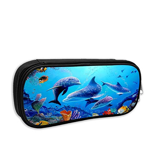 Colorful Sea Ocean World Dolphin Tropical Fishes Coral Swim in The Deep Ocean Pencil Bag with Beautiful Patterns Printed 2195cm