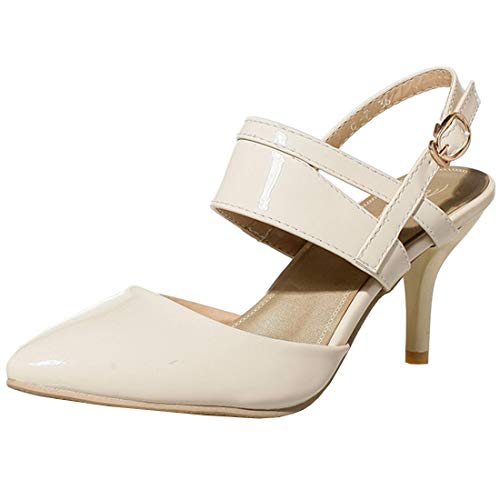 Vitalo Womens Pointed Slingback D'Orsay Pumps Stiletto High Heels Mary Jane Patent Size 7.5 B(M) US,Beige