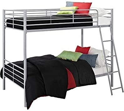 Amazon Com Bunk Beds Twin Over Twin Convertible Bunk Bed Silver Metal Furniture Decor