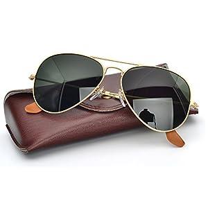 Corning natural glass lens polarized aviator sunglasses for Mens Womens Shades with UV400 (Frame: Matte Gold / Lens: Green G15, Polarized)