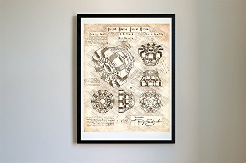 #114 Iron Man Arc Reactor Patent Art - Da Vinci Patent Prints, Poster, Artwork (16x20, Vintage)