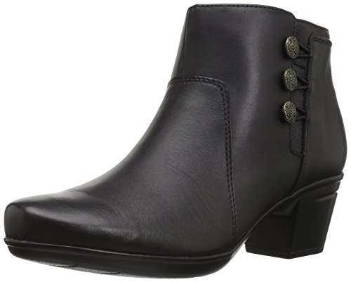 CLARKS Women's Emslie Monet Ankle Bootie, Black Leather, 10 M US (Cute Outfits With Black Leggings And Brown Boots)