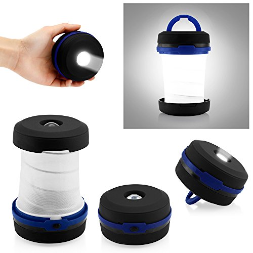 Oct17 Camping Portable LED Light Foldable Collapsible Lantern Flashlight Outdoor Lamp Hiking Lantern - Blue