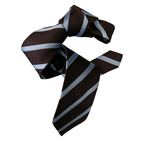 DMITRY Men's Italian Silk Chocolate Brown Striped (Chocolate Brown Italian)