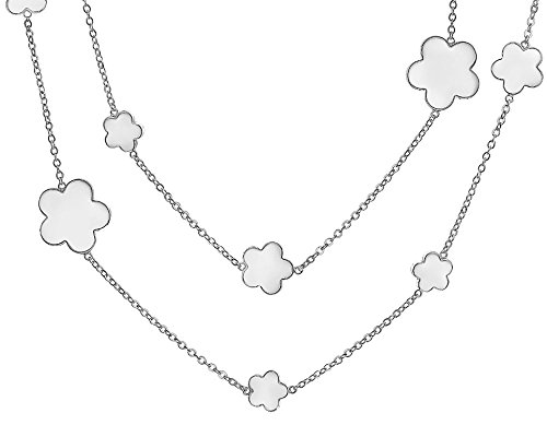 Bling Jewelry White Enamel Clover Flower Rhodium Plated Necklace 42 Inches (White Rhodium Flower Pendant)