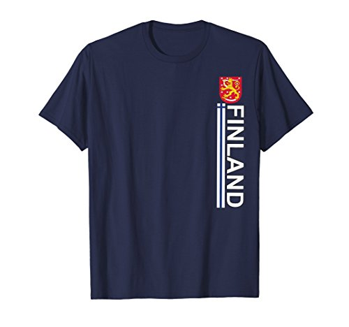 Mens Finland Heritage Sport - Vertical Suomi T-shirt Large Navy (Coat Arms Of Finnish)