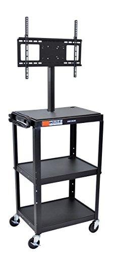 - LUXOR AVJ42-LCD Metal Cart with Flat Panel Mount, Adjustable Height, Black