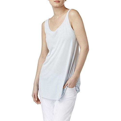 Eileen Fisher Womens Petites Silk Scoop Neck Tank Top Blue PS