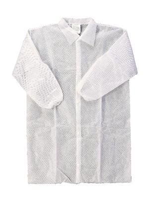Pack of 25 Medium White VWR 414004-353 Basic Protection SPP Lab Coat for Elastic Cuffs with Out Pockets