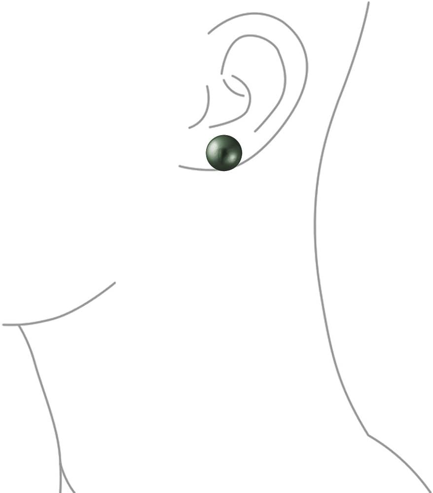 Classic Noir /Él/égant Simple Simulation Peacock Rotule Perle Des Boucles DOreillespour Les Femme En Argent 10MM