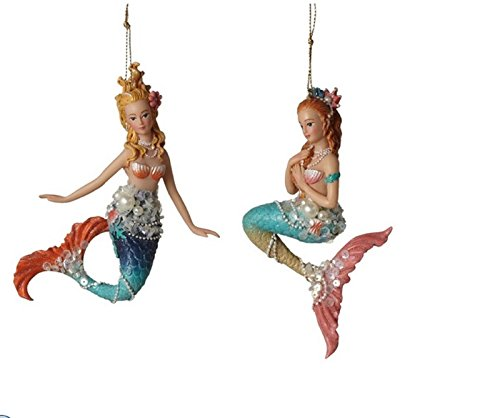 Midwest-CBK Beaded Mermaid Ornaments Set of 2