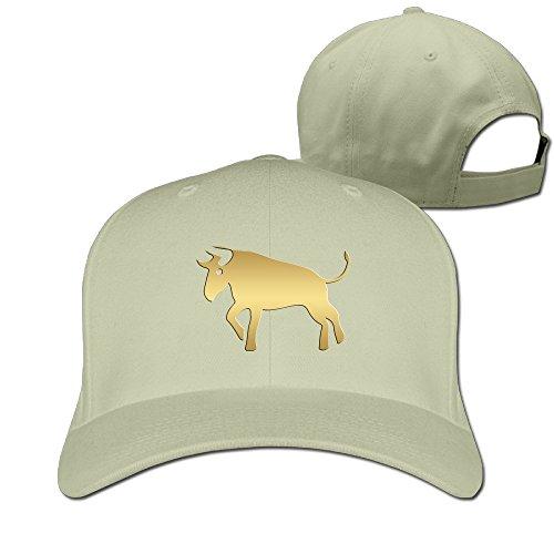 Chinese Zodiac Golden Animals Bull Solid Baseball Snapback Unisex Hat ()