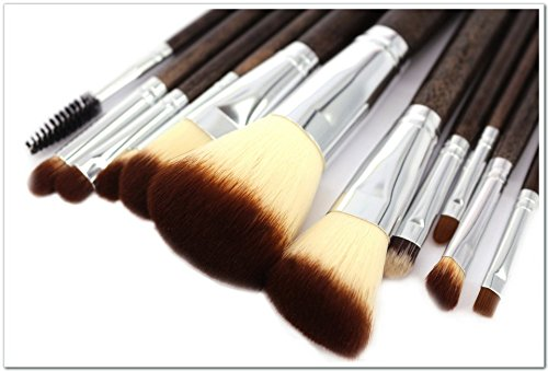 12Pcs Makeup Brush Sets with Holder (Coffee) - 8