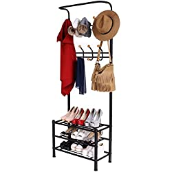 Homdox Entryway Storage Bench Coat Rack Hall Tree with 18 Hooks and 3-Tier Shelves Metal Black