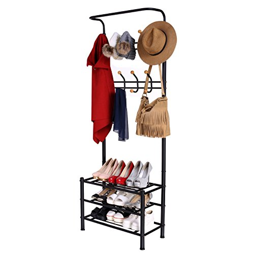 Homdox Entryway Storage Bench Coat Rack Hall Tree with 18 Hooks and 3-Tier Shelves Metal Black For Sale