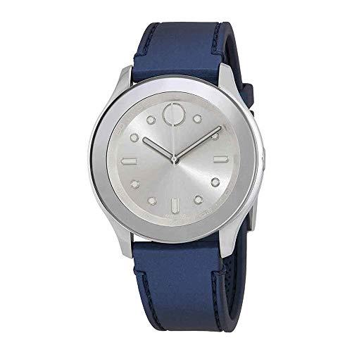 Movado Bold Silver Dial Blue Rubber Strap Women's Watch 3600427