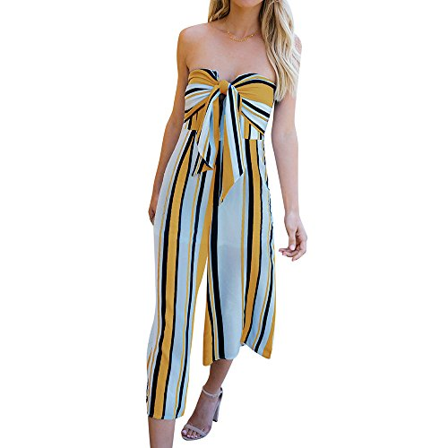 Ducarsel Women Front Tie High Waisted Jumpsuit Striped Wide Leg Long Pants Palazzo Rompers