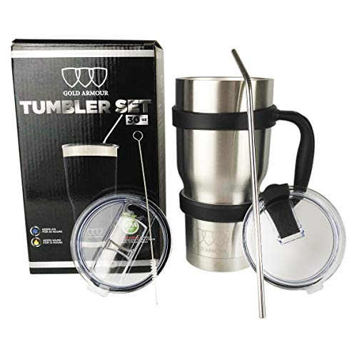 30 oz Tumbler - 6 Piece Stainless Steel Insulated Water & Coffee Cup Tumbler with Straw, 2 Lids, Handle - 18/8 Double Vacuum Insulated Travel Flask (Stainless Steel, ()