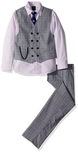 Steve Harvey Big Boys' Four Piece Vest Set, Lavendula Plaid, 16 by Steve Harvey (Image #1)