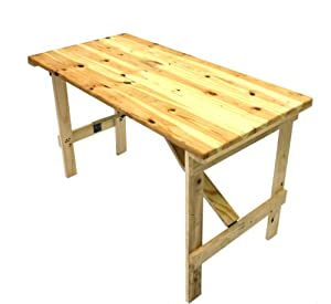 4 X 2 Wooden Trestle Table With Wooden Folding Legs