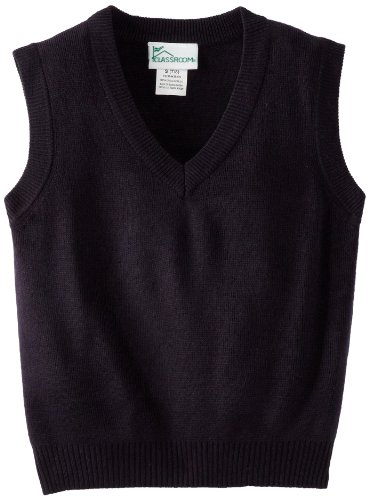 Kids V-neck Cardigan Sweater - CLASSROOM Little Boys' Uniform Sweater Vest, Dark Navy, Small