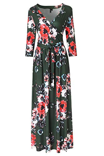 Zattcas Womens 3/4 Sleeve Floral Print Faux Wrap Long Maxi Dress with Belt,Olive Green,Small
