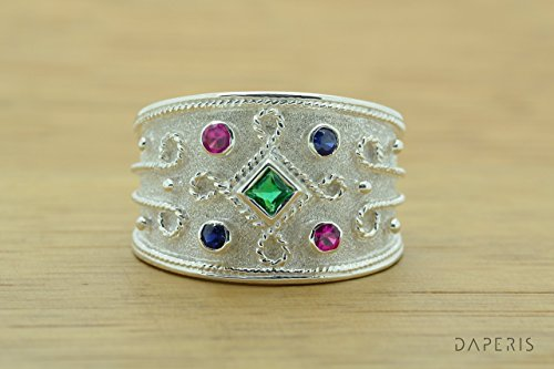 Princess Cut Emerald Byzantine Style Ring, Byzantine Rubies Emerald Sapphires CZ Ring, CZ Band Ring, Sterling Silver Ring, Etruscan Style Ring, Byzantine Ring, Greek Jewelry, Luxury Ring, Medieval Ring, Elegant Sterling Silver Ring - Ruby Etruscan Style Ring