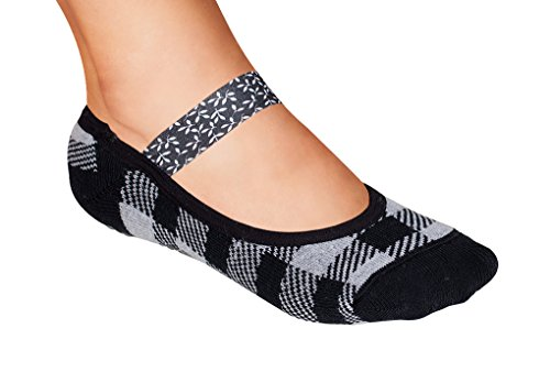 Lupo Women's Black White Yoga Ballet House No Show Grip Sock, Large Plaid