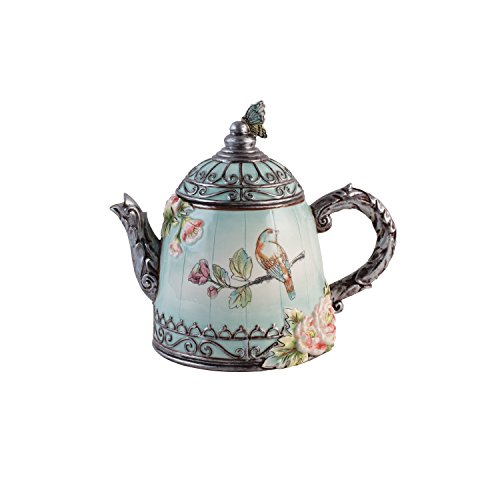 English Teapot - Fitz and Floyd 21-064 English Garden Teapot, Baby Blue