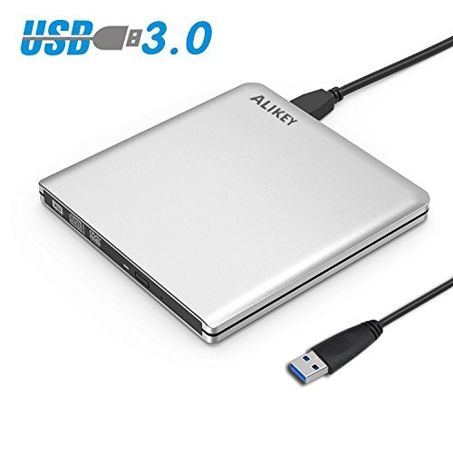 External DVD Drive,ALIKEY USB 3.0 CD/DVD-RW Writer Burner All-aluminum Ultra Slim Portable DVD Drive for Laptop and Desktop PC Windows Linux OS Apple Mac Macbook Pro (Silver) by ALIKEY