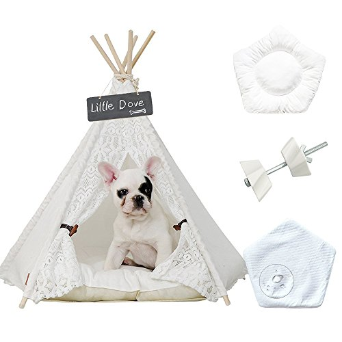 little dove Pet Teepee Dog(Puppy) & Cat Bed - Portable Pet Tents & Houses for Dog(Puppy) & Cat Beige Color 24 Inch (with or Without Optional Cushion) (Teepee Set2)