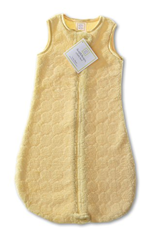 SwaddleDesigns Microfleece Sleeping Sack with 2-Way Zipper, Yellow Puff Circles, 6-12MO