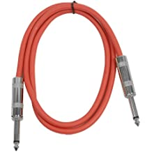"""Seismic Audio - SASTSX-3 - 3 Foot TS 1/4"""" Guitar, Instrument, or Patch Cable Red"""