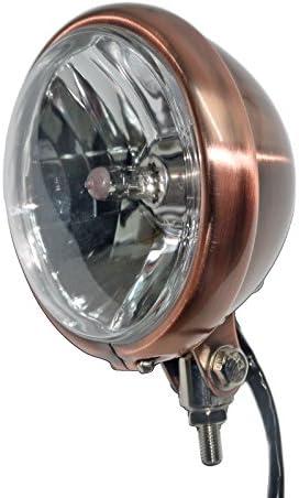 5 3/4″ Golden Vintage Metal Headlight for Copper Style Cafe Racer Bobber Motorcycle