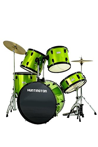 Premium Complete Junior Professional Sparkle Green 5 Piece Full Size Drum Kit with Drum Sticks, Drum Throne (Stool), Stand, Tuning Key & DirectlyCheap(TM) Blue Medium Pick (DRM-PRO-JR)
