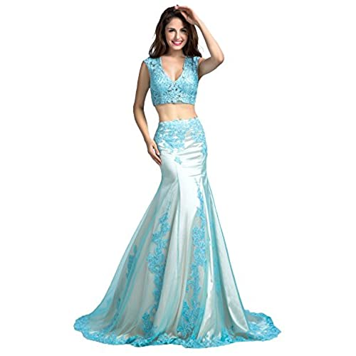 2 Piece Long Prom Dresses Size 6: Amazon.com
