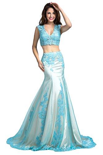 Manfei Women's Long Prom Dress Two Piece Lace Appliqued M...
