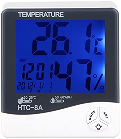 HTC-8A Digital Luminous Thermometer Hygrometer Temp Humidity Test Clock new