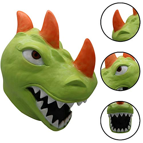 Cosplay Funny REX Dinosaur Mask Melting Face Latex Costume Halloween Scary Mask