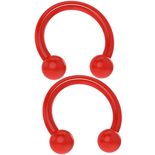 Bling Piercing 2pc Acrylic Horseshoe Circular Barbell 16 Gauge 5/16 Red Plastic UV Flexible Cartilage Earrings