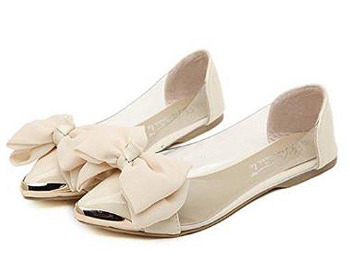 Minetom Mujer Chicas Película Transparente Zapatos Style Dolce Apuntado Zapatos Con Bowknot Beige 40 HpzaT