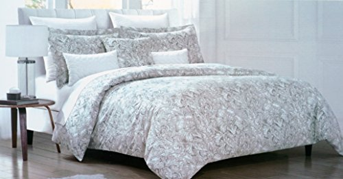 Envogue Bedding 3 Piece King Duvet Cover Set Neutral Classic Floral Medallion Pattern in in Shades of White Gray Tan Taupe Silver